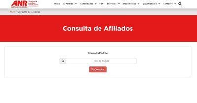 La Nación / ANR restablece página web con lista real de afiliados