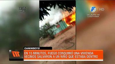 Incendio consume vivienda de una familia en Curuguaty