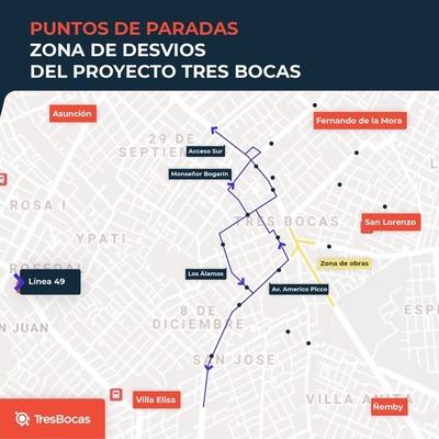 Reubican 34 paradas de buses en calles alternativas a Tres Bocas