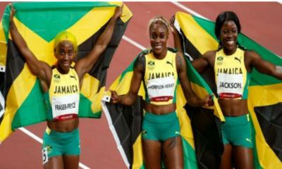 Jamaiquinas vuelan: Podio lleno, récord olímpico y marca de leyenda en 100 metros razos