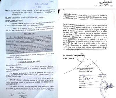 Apelan disposición de juez electoral que rechazó impugnación de candidata a intendente de Ybycuí