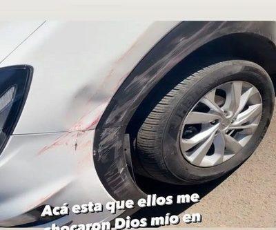Lazaga da su versión, dice ser víctima y muestra su auto chocado