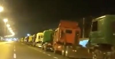 Movilización de camioneros en Asunción