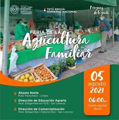 Feria de la Agricultura Familiar Campesina se realizará este jueves en San Lorenzo y Limpio