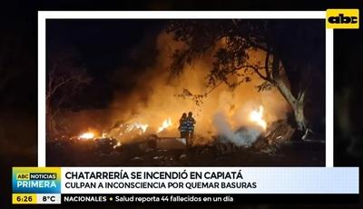 Incendio consume chatarrería en Capiatá
