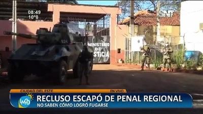 Ciudad del Este: Recluso escapó del Penal Regional