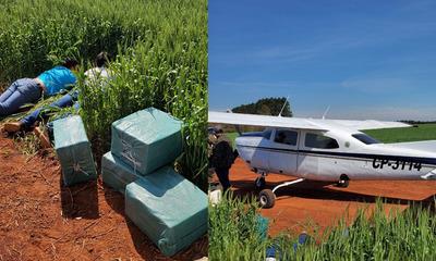 Alto Paraná: Capturan a dos bolivianos con 200 kilos de supuesta cocaína y una avioneta