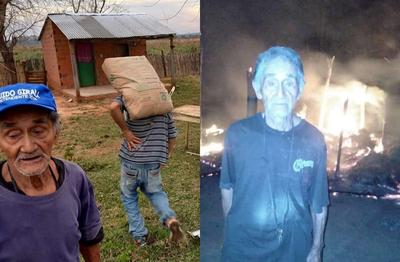 Abuelito que perdió su vivienda en incendio recibe asistencia de la gobernación