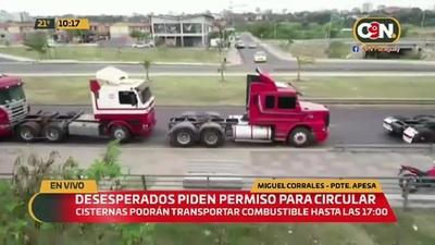 Camiones cisternas podrán transportar combustible hoy hasta las 17:00 hs