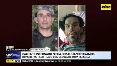 Paciente internado niega ser Alejandro Ramos