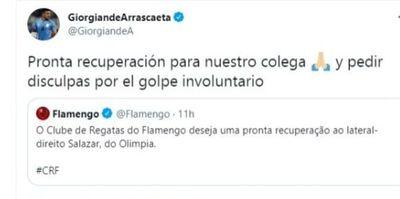 """""""Pronta recuperación y disculpas por el golpe involuntario"""""""