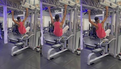 Toñito terminó colgado de una de las máquinas del gimnasio