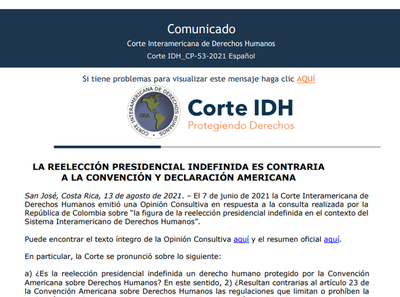 Tribunal de Corte IDH ombocháke jeporavo jey presidencial indefinida