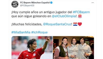 Bayern Múnich, La Liga y la UEFA saludan a Roque Santa Cruz