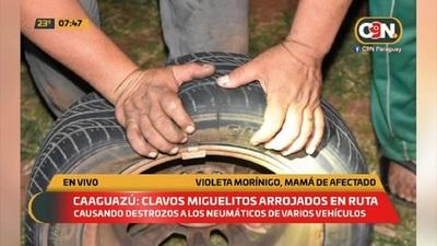 Caaguazú: Clavos miguelitos arrojados en la ruta
