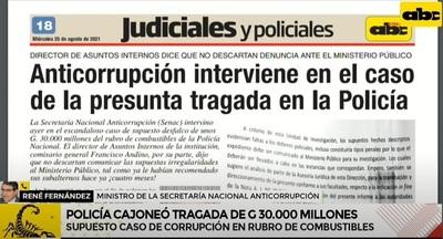 Investigan desvío de G. 30.000 millones en la Policía Nacional