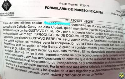 Denuncian en la Fiscalía a un funcionario de la Municipalidad de Luque •