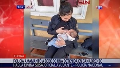 Oficial de policía amamanta a bebé de detenida en San Lorenzo