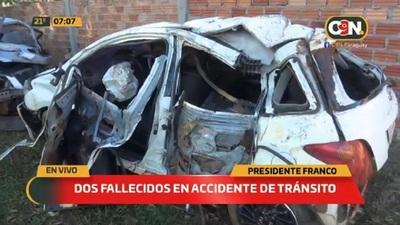 Dos fallecidos en accidente de tránsito