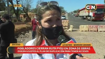 Ruta Py02: Pobladores realizan cortes intermitentes en zona de obras