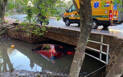 """Conductora de vehículo se """"traga"""" una curva y cae al cauce del arroyo Amambay – Diario TNPRESS"""