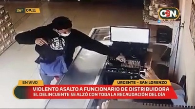 Violento asalto a funcionario de distribuidora en San Lorenzo