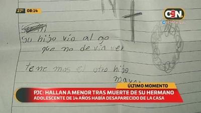 Pedro Juan Caballero: Hallan a menor tras muerte de su hermano