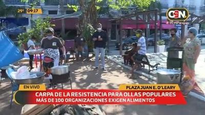 Plaza Juan E. O'leary: Carpa de la resistencia para ollas populares