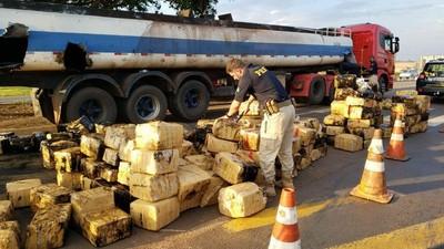 Detienen a PARAGUAYO con 2,8 toneladas de MARIHUANA transportado en CAMIÓN CISTERNA