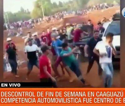 Aglomeración, bebidas, gresca y nulo control en Caaguazú