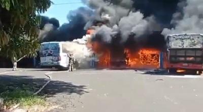 Al menos nueve buses de la Línea 27 son consumidos por incendio en parada