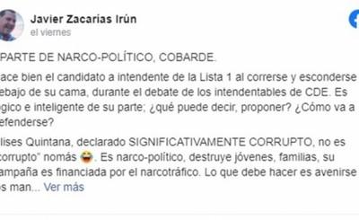 """Javier Zacarías: Quintana """"es narco-político, destruye jóvenes"""""""
