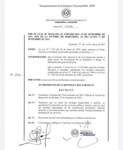 Victoria de Boquerón: oficializan traslado del feriado al lunes 27