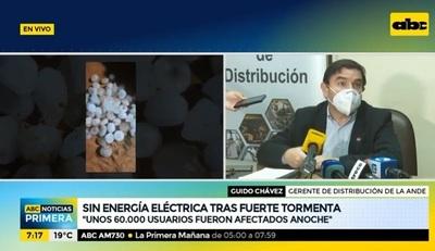 ANDE reporta 60.000 afectados por cortes a causa de temporal