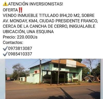 """Ofrecen en US$ 220 mil un salón """"COMUNITARIO"""" en Franco"""