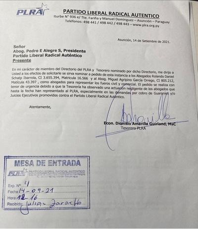 Tesorero del PLRA pide a Alegre nuevos abogados para encarar demandas en los fueros civil y comercial