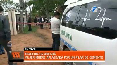 Una mujer muere aplastada por un pilar de cemento en Areguá
