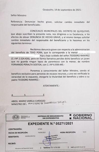 Denuncian que operador del diputado Samaniego cobra Tekoporã a nombre de una niña