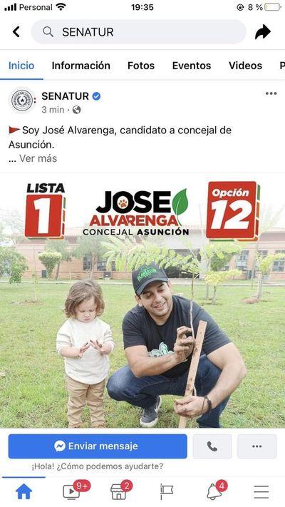 Desde redes sociales de Senatur hicieron campaña por José Alvarenga