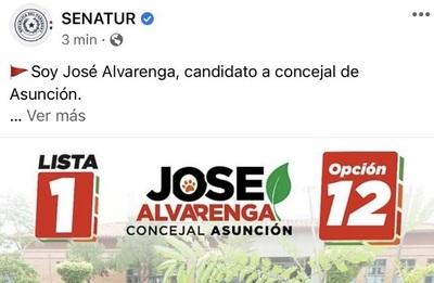"""Cuenta de Senatur promociona a candidato y anuncian """"medidas"""""""