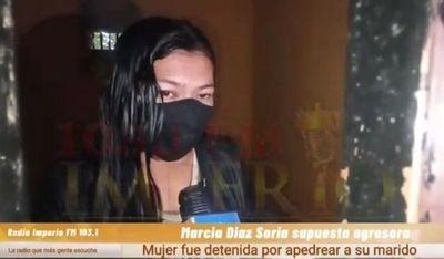 Mujer que presuntamente cascoteó a su esposo se entregó a la policía