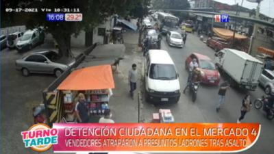 Trabajadores del Mercado 4 capturan a supuestos delincuentes