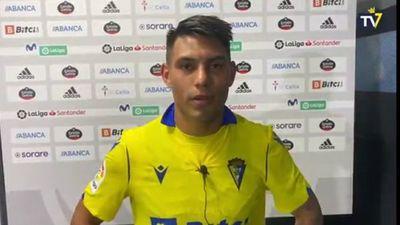 Santiago Arzamendia, feliz por debutar en el Cádiz