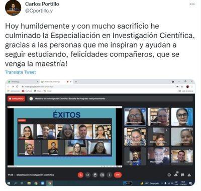 """Portillo dice haber culminado nueva """"Especialiación en Investigación"""""""
