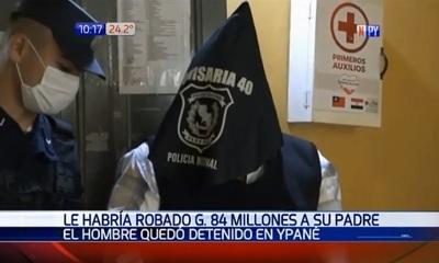 Detienen a sospechoso de robar G. 84 millones de su padre
