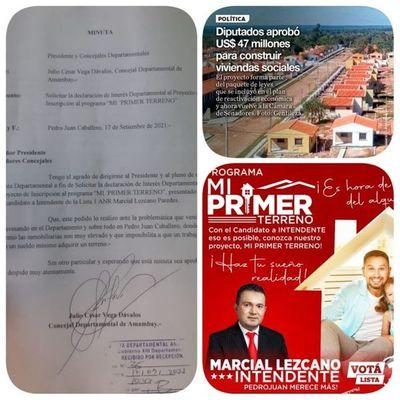 """Programa """"Mi primer terreno """" del Candidato a Intendente de la Lista 1, Marcial Lezcano tiene repercusión departamental y hasta apoyo de autoridades liberales"""