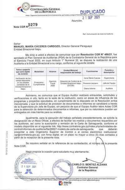 Contraloría comunicó a Itaipú y a Yacyretá que las auditará en el 2022, por el ejercicio fiscal 2021