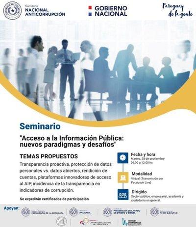 Realizarán seminario virtual sobre el acceso a la información pública