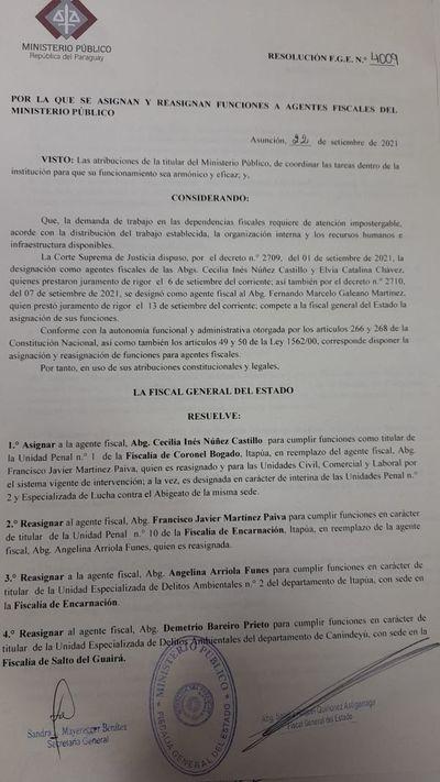 FGE dispone serie de movidas y traslados en el Ministerio Público de Alto Paraná