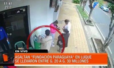"""Así asaltaron local de la """"Fundación Paraguaya"""" en Luque"""